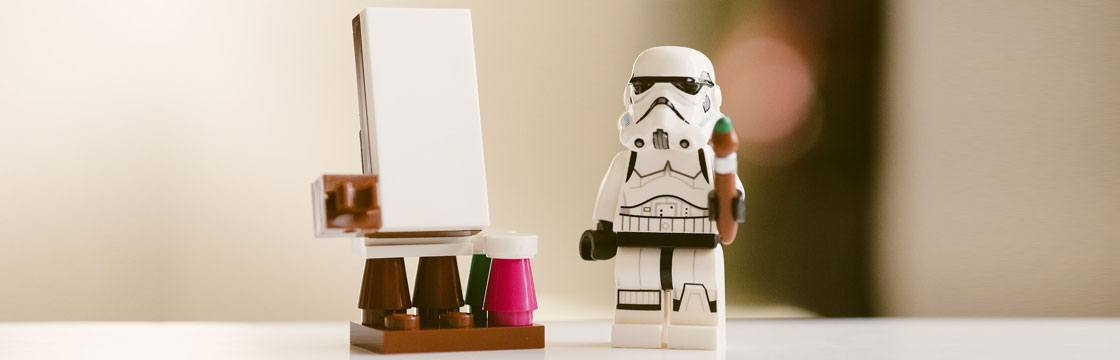 stormtrooper lego toy painting